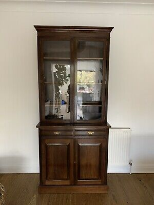 Victorian Mahogany Glass Doored Library Bookcase Cabinet With Single Drawer