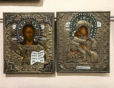 Antique Russian Silver plated Enamel Icon Jesus Pantocrator + Virgin of Tikhvin