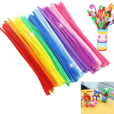 100X Chenille Stems Pipe Cleaners Kids Craft  Educational Toys Twist Rods S&KD_N