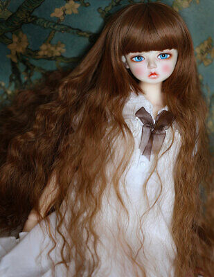 "1//3 8-9-10/"" 20-22cm Pullip Bjd Doll Wig Hair Long Gold Auburn Curls Curly Wavy"