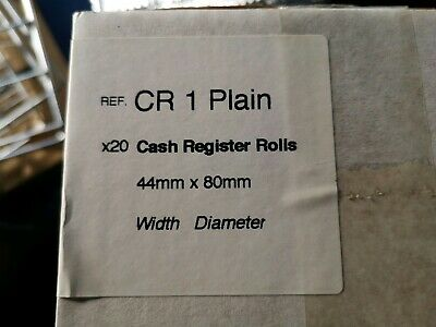 20x Single Ply Paper Cash Register Till Printer Receipt Rolls 44mm x 80mm