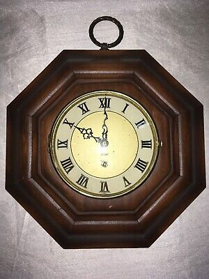 Vintage 8 Day Wooden Octagon Wall Clock Movement By Endura Roman #s Scroll Hands