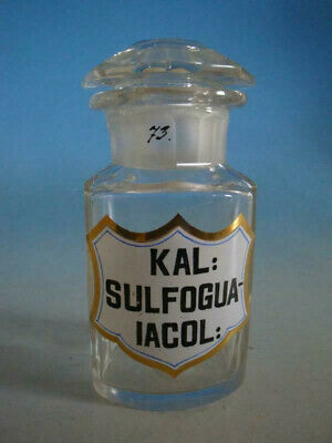 RS1119-021: Alte Apotheke Glas Flasche 19 Jhdt. Kal. Sulfogualacol