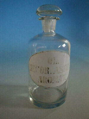 RS1119-028: Alte Apotheke Glas Flasche um 1900 Ol. Jecor Asell Aromat