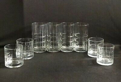 Anchor Hocking Clear Manchester Tartan Grid Plaid Drinking 4 Glasses& 4 Tumblers