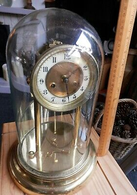 Victorian 8 Day Glass Dome Striking Pendulum Mantle Clock A.L.M. 33cm Working