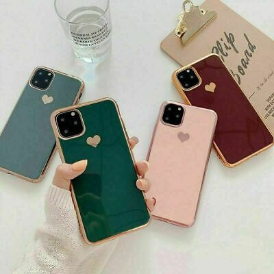 For iPhone 11 Pro XS Max XR X Girls' Cute Love Heart Plating Phone Case Cover