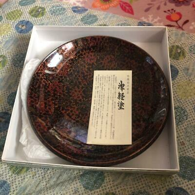 Unused Japanese Traditional Wooden Tsugaru Lacquer Tea Plate Rare Japan in Box