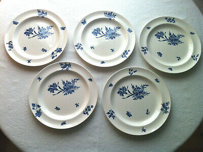 Wedgwood Queen's Ware Ludlow 5 ea tea plate rose floral pattern in blue, ca 1930