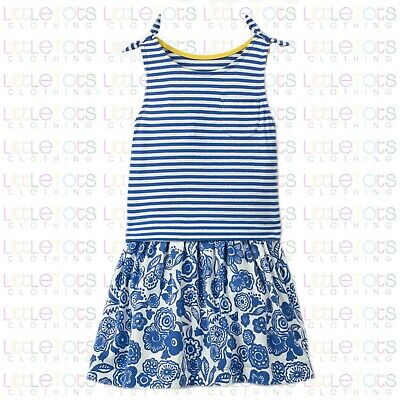 New Mini Boden Hotchpotch Blue Floral Sleeveless Dress RRP £22 Sizes 2yrs-9yrs