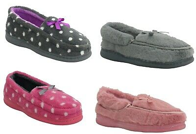 Womens Warm Fleece Lined Winter Cosy Ladies Moccasins Mocc Slippers Shoe Size Uk