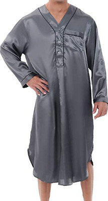 Nightshirt Alexander Del Rossa Mens Satin Steel Grey Long Lightweight Clearance