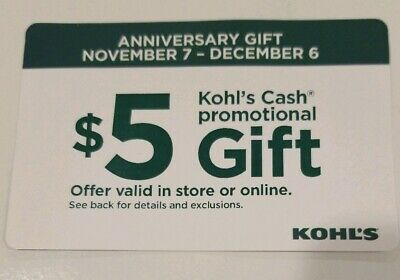 20 $5 Kohl's Cash Promotional Gift Total $100 In stores only. Read description.