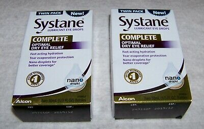 2 SYSTANE COMPLETE OPTIMAL EYE DROPS TWIN PACK 2x10 mL EACH EXP 12/19
