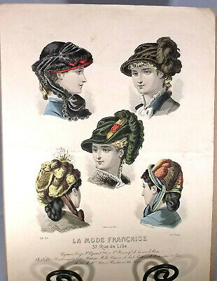 Antique French Victorian Fashion Print, La Mode Francais, Hats & Hairstyles