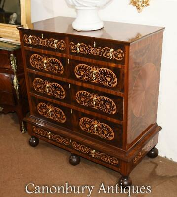 Queen Anne Chest Drawers - Commode Marquetry Inlay