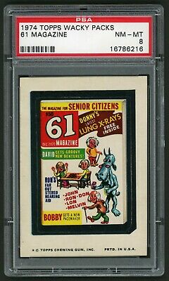 1974 Topps Wacky Packages Sticker 61 Magazine 11th Series PSA 8 Non-Sports
