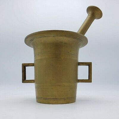 """Very Large & Heavy Solid Brass Vintage Pharmacy Cooking Mortar & Pestle ~ 5"""""""