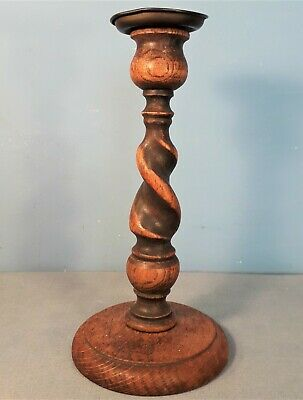 Antique Oak Barley Twist Candlestick with Brass Sconce