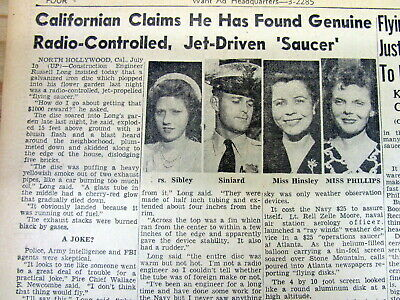 1947 newspaper with possible explanation of early UFO / FLYING SAUCER SPOTTINGS