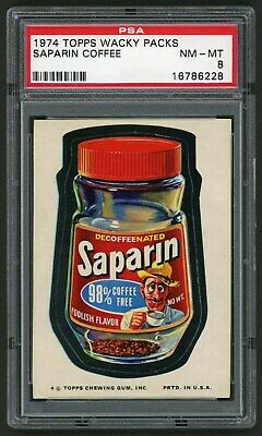 1974 Topps Wacky Packages Sticker Saparin Coffee 11th Series PSA 8