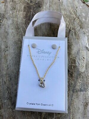 Disney Parks Mickey Mouse icon Gold Tone  Necklace Swarovski Crystals bag