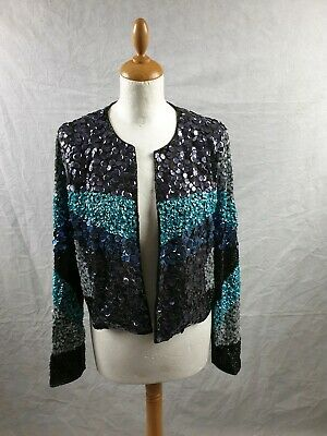 Topshop Circle Disc Colour Block Sequin Embellished Women's Jacket Size 14 BNWT