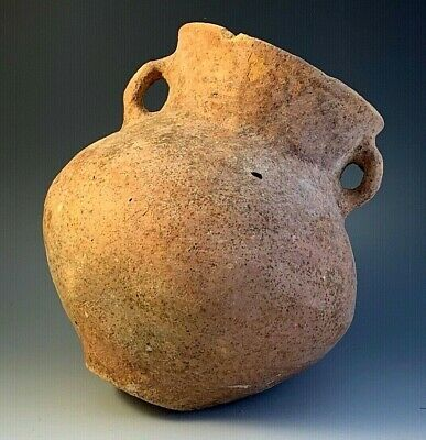 ANCIENT HOLY LAND TERRA-COTTA JAR; DOUBLE HANDLES; BRONZE AGE, circa 2500 B.C.