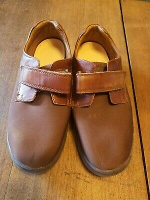 9W Womens Dr. Comfort Shoes, Annie Brown Leather/Lycra Velcro, Gently Used(B)