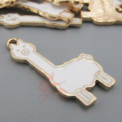 2 Llama Charms Gold Tone and White Enamel Bright and Fun E566