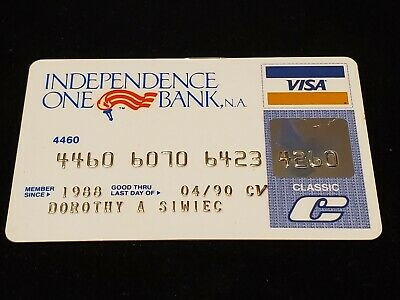 Independence One Bank Visa Classic Credit Card exp 90♡Free Shipping♡cc441♡
