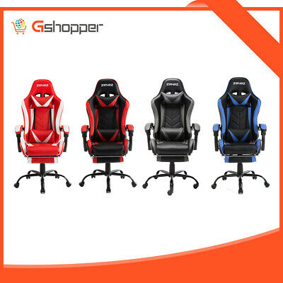 ZENEZ Gaming Chair Office Computer Seating Racing PU Leather Executive Footrest