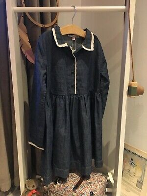 * Luxurious Cotton Denim/Lace Dress from French BONPOINT, BNWT, £150! *