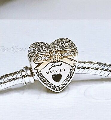 Authentic Pandora Silver & 14kt Gold Just Married  Charm W/ Gift Pouch Wedding