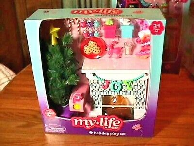 New My Life Doll As Holiday Playset Christmas Tree Lights Up Fireplace Stockings