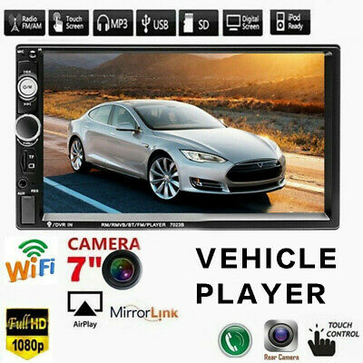 """7"""" 2DIN Car MP5 Player Mirror Link bluetooth Touch Screen FM Stereo Radio 7023B"""