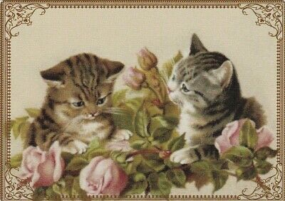 Modern Wide Linen Cats P1 Kittens Amongst Roses Swap Playing Card
