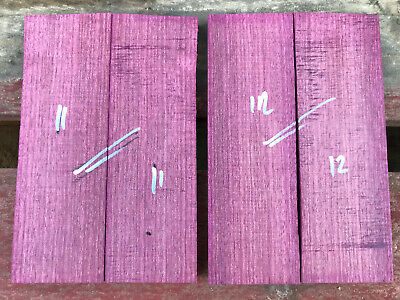 Purpleheart / amaranth bookmatched knife scale knife handle set 40-52mm widths