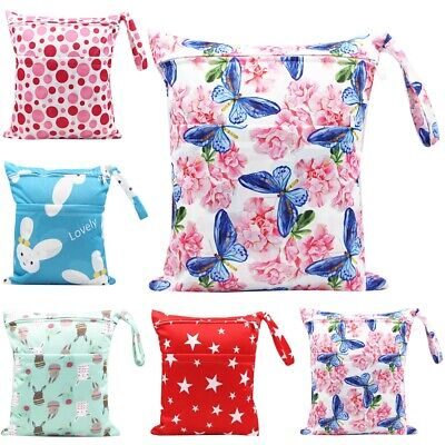 Waterproof Baby Cloth Diaper Nappy Bag Reusable Washable With Two Zipper Pockets