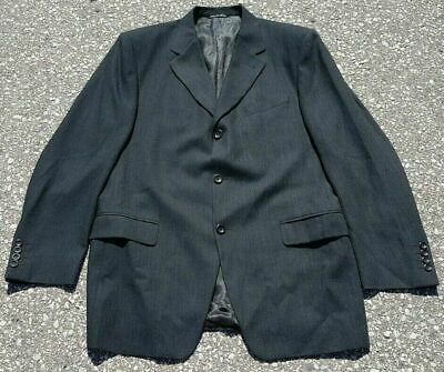 Canali Men's Sport Coat Jacket Black Charcoal 100% Wool Italy Size 42R 42L