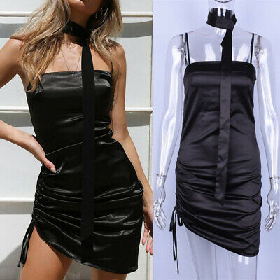 Women Bodycon Sexy Mini Dress Ladies Sleeveless Ruched Party Night Club Dress
