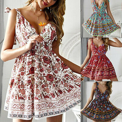 Boho Beach Vintage Floral Summer Short Mini Dress Party Bandage Chiffon Sundress
