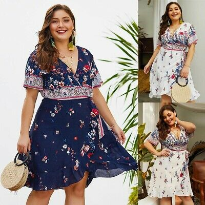 Fashion Women's Sexy V Neck Floral Short Sleeve Boho Bandage Summer Midi Dress