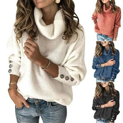 Women Solid Plus Size Cowl Neck Pullover Sweater Knitted Jumper Blouse Top Loose