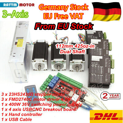 DE➝ Nema23 57 Stepper Motors 425oz-in 112mm+Driver 3 Axis USB CNC Controller Kit