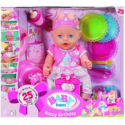 BABY BORN Interactive Happy Birthday Doll + Accessories - 25 Year Anniversary