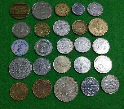25 different Casino, slots & cruise ship gaming tokens