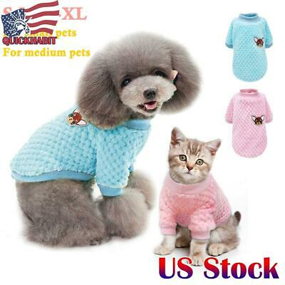Dog Knitted Sweater Embroidery Chihuahua Clothes Pet Puppy Cat Warm Costume US
