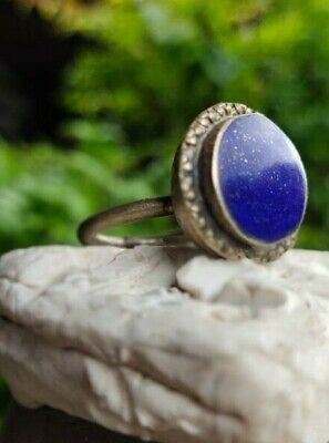 Old Lapis Agate Stone Afghan Turkish Agate  Intaglio Islamic Ring 8 US