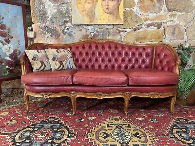 Vintage Leather French Louis Chesterfield Lounge 3 Seater Lounge Chair-Sofa